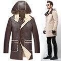 2015 hombres de invierno de ambos vistiendo prendas de piel larga sección abrigo de piel chaqueta de piel de oveja Men ' s piel chaqueta