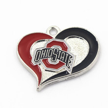 NCAA Ohio State Heart Sports Pendant Dangle Charms Fit Bracelet Necklace Hanging Charms Diy Fashion Jewellery 10pcs/lot