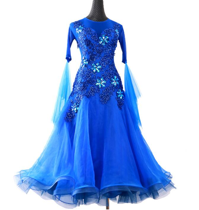 NEW ballroom dance competition standard dress women, lycra standard ballroom dress Mesh Long Sleeve dresses royal blue thumbnail