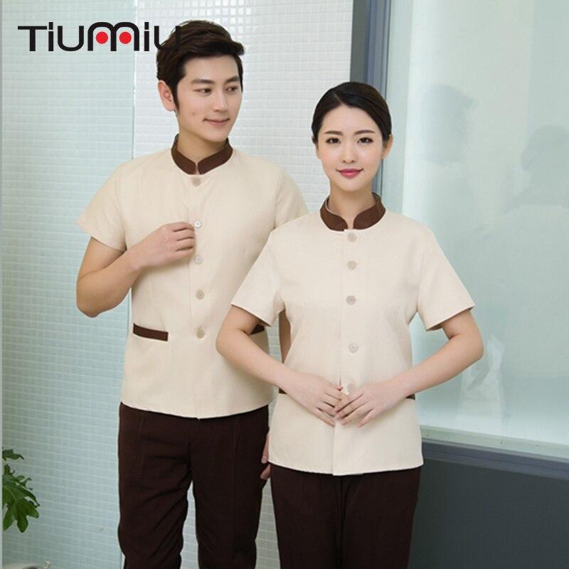Hot Sale Summer Cleaning Uniforms Short Sleeve Workwear Jacket Uniform Cleaning Waiter Men Women Hotel Cleaning Service Uniforms