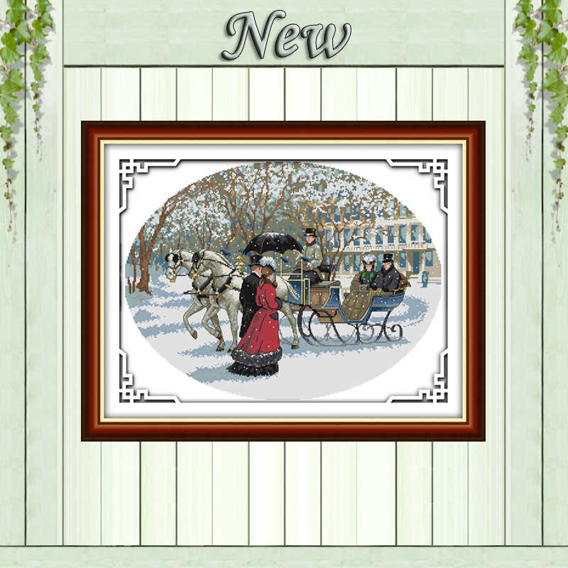 Scenery of Snowy day,counted printed on canvas DMC 14CT 11CT Cross Stitch kit,embroidery needlework Sets,winter style Home Decor