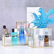 Caja de almacenaje para maquillaje Vintage, joyero de mesa de cristal dorado, clasificación decorativa, organizador cosmético, soporte para brochas de maquillaje
