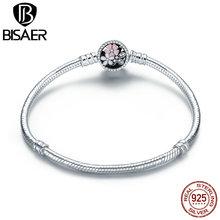 BISAER pulsera de plata de ley 925 con flor rosa, cadena básica con margaritas y flores de cerezo, joyería WEUS919