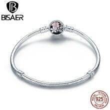 Bisaer 925 prata esterlina rosa flor poética daisy flor de cerejeira básica corrente pulseira para moda feminina jóias weus919