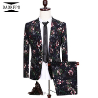 DAOKFPO 2017 New Two Piece Groom Suit Floral Print Cotton Fabric Suits Men Slim Fit Fashion