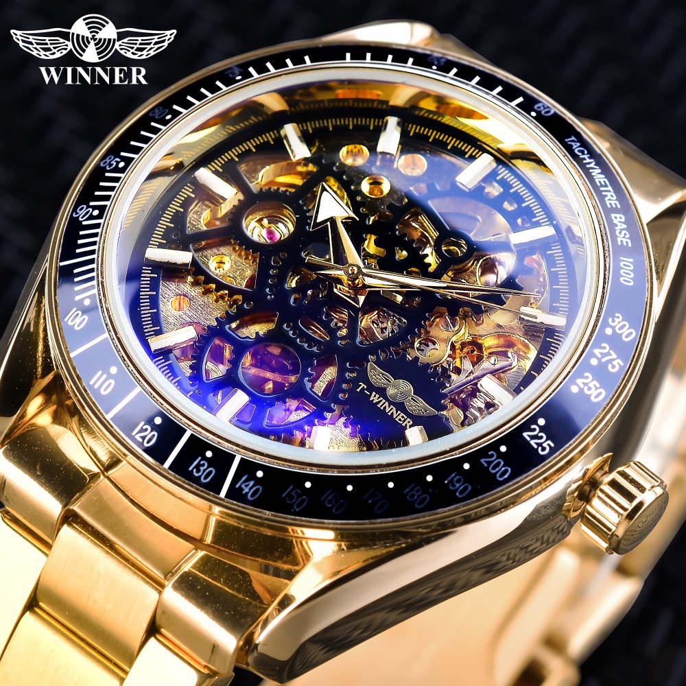 Winner Watches Classic Black Golden Men's Mechanical Automatic Wristwatches Top Brand Luxury Transparent Watch Bracelet Clasp цены