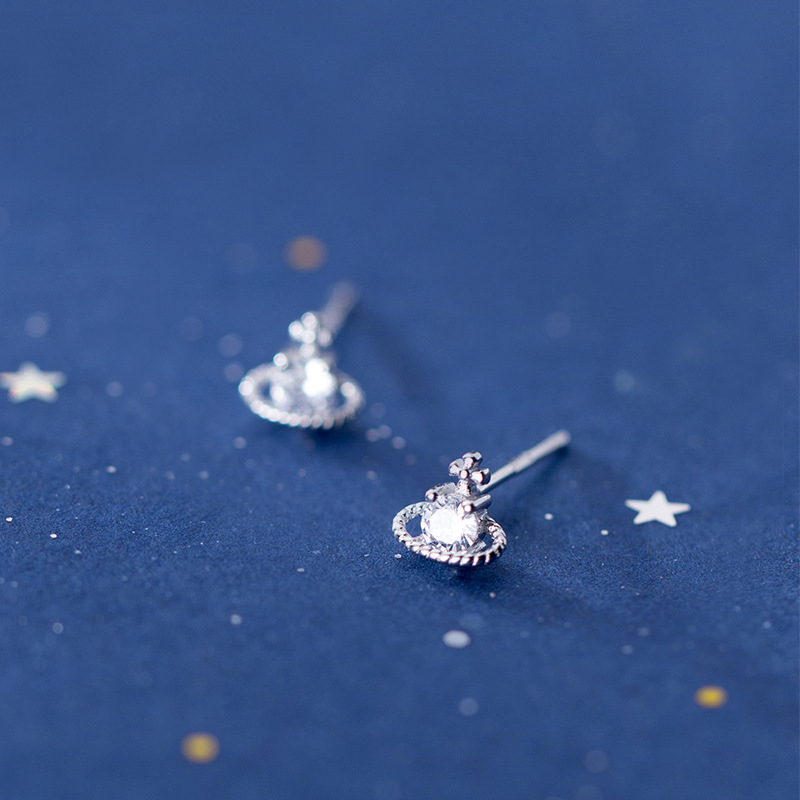 MloveAcc Classic 925 Sterling Silver Space Saturn Star Stud Earrings With CZ For Women Wedding Jewelry