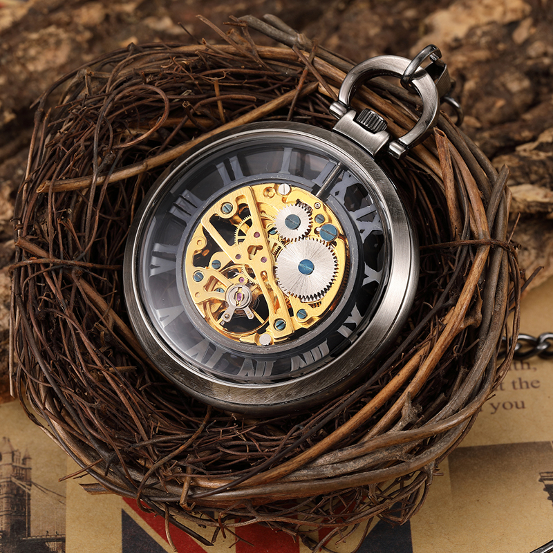 Unique Bronze Hollow Skeleton Steampunk Craced Mechanical Pocket Watch Men FOB Waist Chain Retro Roman Dial Male Clock Men Gift