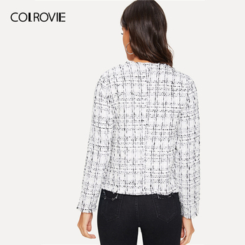 COLROVIE White Plaid Frayed Edge Tweed Open Placket Elegant Coat Women Outerwear 2019 Spring Korean Office Ladies Vintage Tops 1