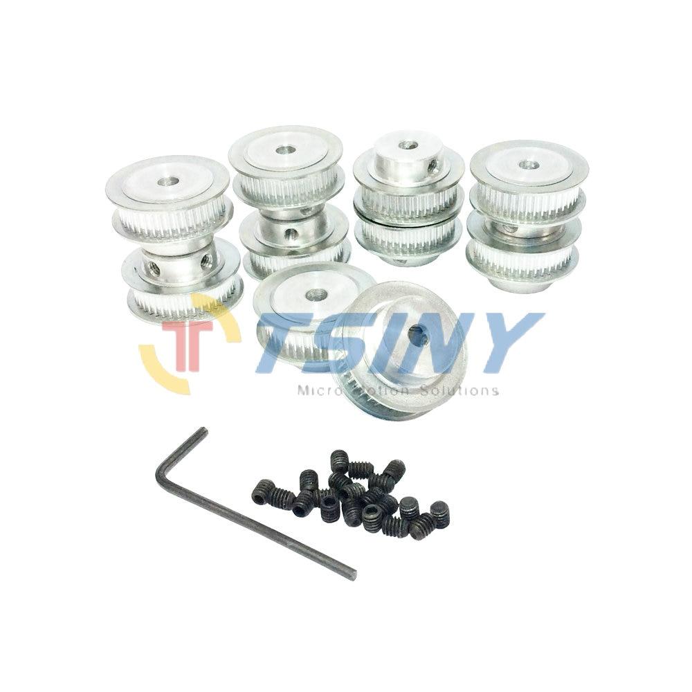 Aluminium Wheel Gt2 Timing Belt Pulley 40 Teeth Bore 5mm Tooth Pulleys Aluminum Stock Width 7mm Double Flange 10pcs Lot