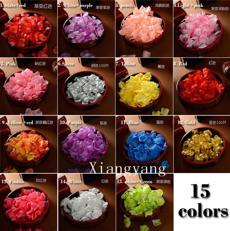 Silk rose petals table confetti artificial flowers wedding decorative rose petals 1000 pcs gold and silver