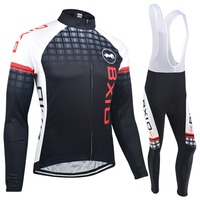 Bxio Winter Thermal Fleece Cycling Jerseys Long Sets Super Warm Bike Clothing Black Bicycle Jersey Ropa