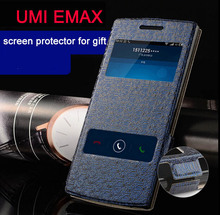 2015 NEW phone UMI eMAX Flip case Luxury 100% Original Leather Case Cover Flip Stylish Accessory Screen protector for gift