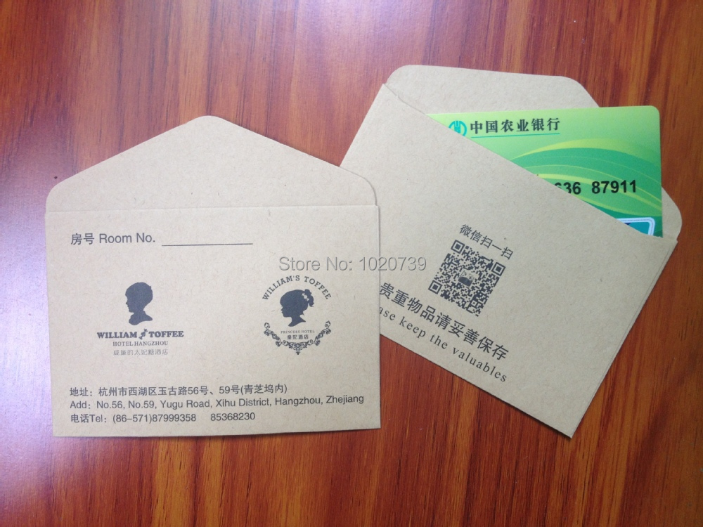 Hotel Key Card Holder Made By kraft paper, Customized business card ...