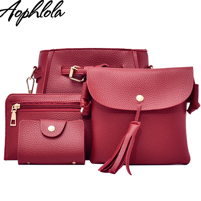 Fashion Litchi Handbag 4pcs Set Pu Leather Composite Bag Shoulder Bags Pink Women 2017 Crossbody Small Purse Clutch Girl Black jooz brand luxury belts solid pu leather women handbag 3 pcs composite bags set female shoulder crossbody bag lady purse clutch