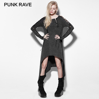 PUNK RAVE 2017 New Irregular Hollow Out Casual Elastic Long Dress Punk Rock Designs Casual Long Sleeve Knitted Dress Party Club
