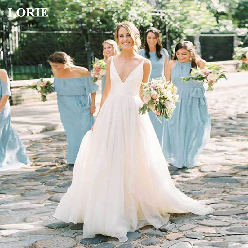LORIE 2019 Summer Wedding Dresses Stain Tulles Spaghetti Straps Vestido De Noiva Simple Cheap V Neck Open Back Custom Made Size