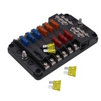 Universal Automotive LED Indicator Car Vehicle 12 Way Warning Blade Fuse Block Holder Box