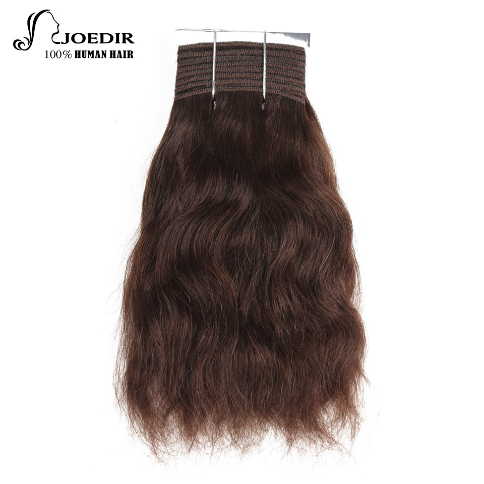 Joedir Pre-Colored Brazilian Natural Wave Weave 8 And 10 Inch Non Remy Hair Color 2 And 100% Human Hair Bundles Free Shipping