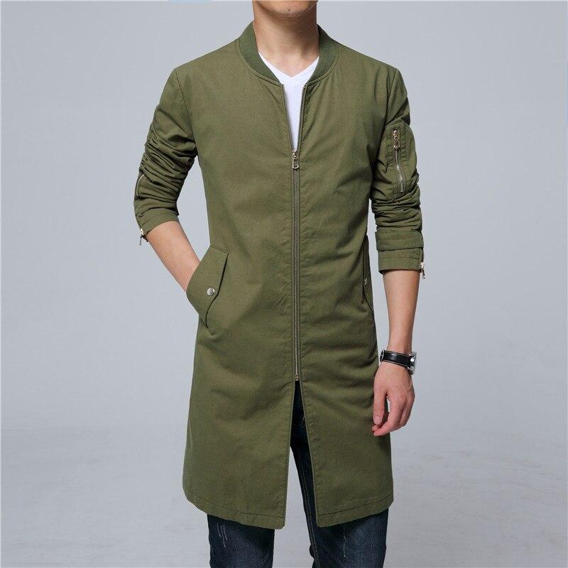 Trench-coat hommes Coton long manteau pardessus hommes coupe-vent grande taille 5XL livraison directe 7 couleurs noir marine rouge blanc vert gris