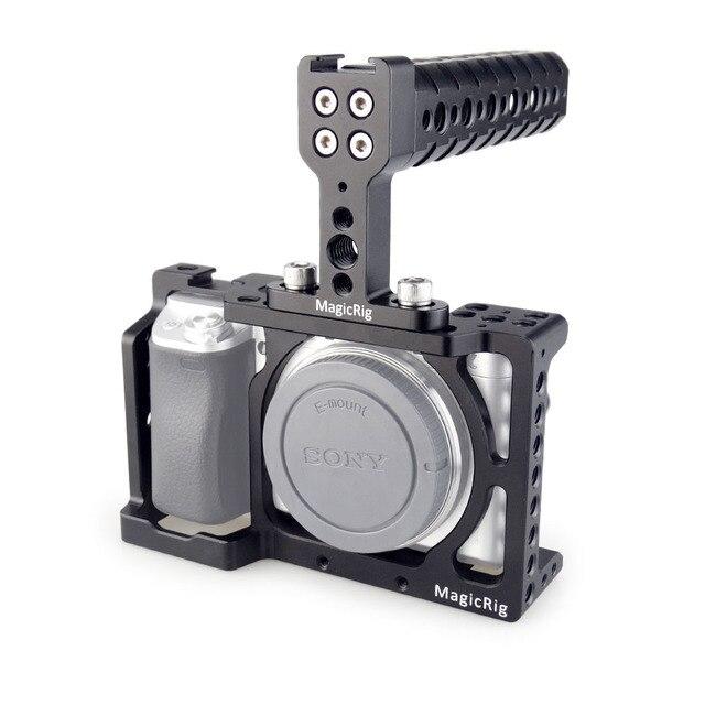 MAGICRIG DSLR kamera kafesi için Üst Kolu ile Sony A6400/A6000/A6300/A6500 Kamera Dağı Mikrofon Monitör flash