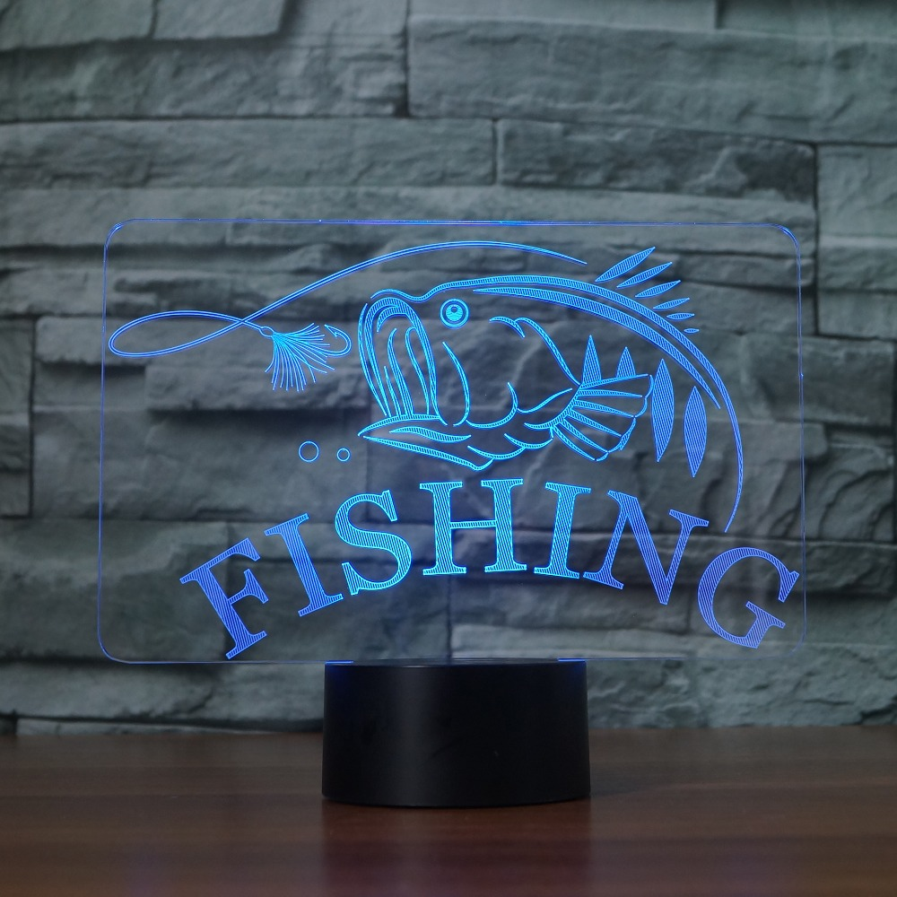 3D Fishing LED Night Light 7 Color Changing 3D Fish Table Desk Lamp Lighting Children Bedroom Toys Xmas New Year Kids Gifts