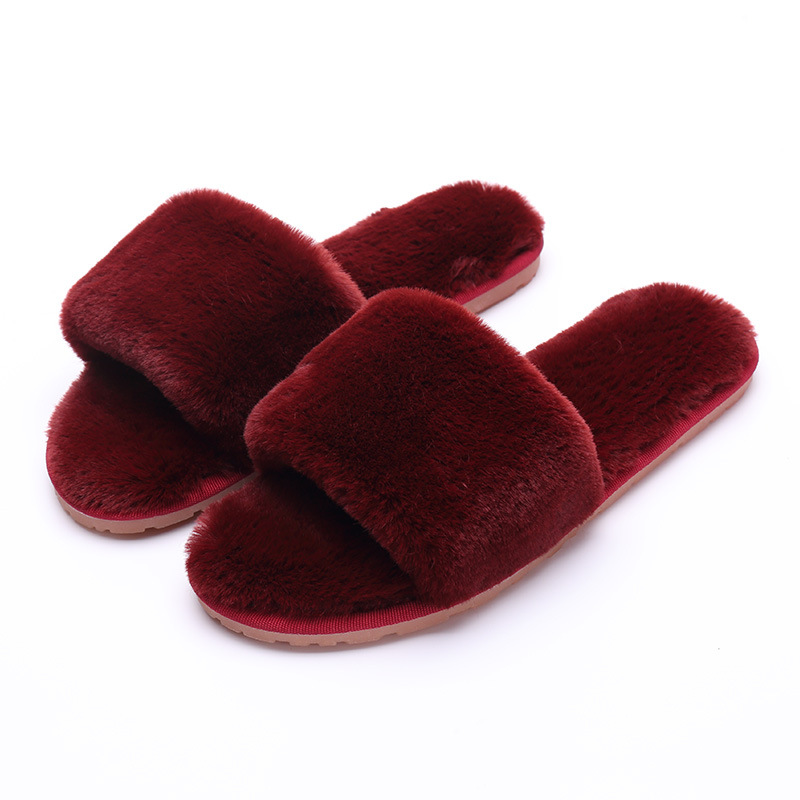 Women Fur Slipper Flat Heel Rabbit Fur Sandals Flats Slip On Flip FlopS Indoor and Outdo ...