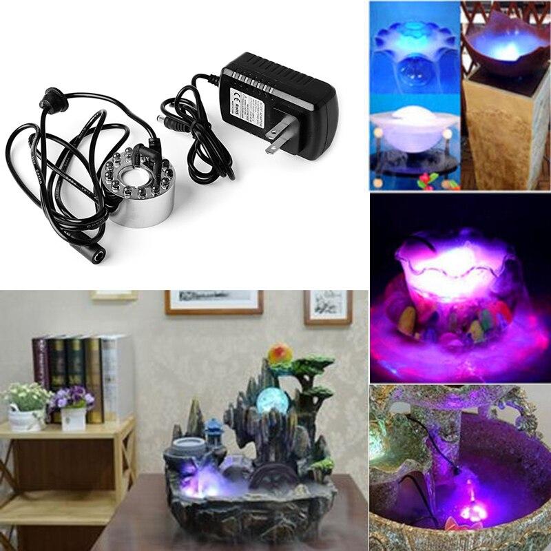 12 LED light Ultrasonic Mist Maker Fogger Water Fountain Pond Indoor Outdoor New цена и фото