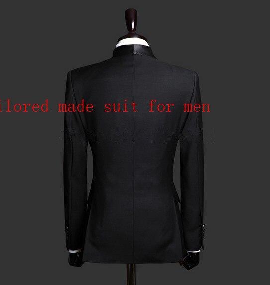 Erkek Kıyafeti'ten T. Elbise'de Sıcak Satış tek göğüslü Siyah Damat Smokin erkek Takım Elbise Şal Yaka Groomsmen Erkek Düğün Takımları Balo Suits (ceket + pantolon + kravat)'da  Grup 3