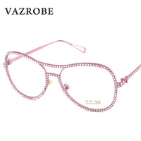 Vazrobe Luxury Rhinestone Glasses Women Pearl Decoration Brand Designer Female Eyewear Oversized Aviation Optical Eyeglasses