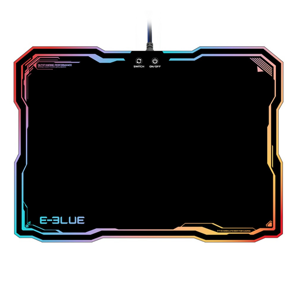 VAKIND E-3LUE Gaming Light Mouse Pad Resin Durable Gamer Solid Color RGB Light Edge Keyboard Mat with 10 Models RGB Lighting e 3lue ems109 wired gaming mouse white