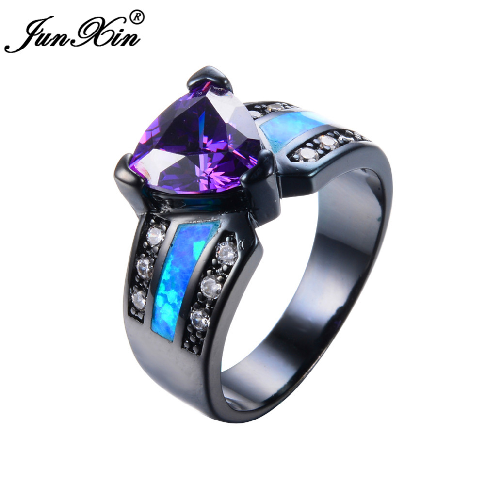 Junxin Fashion Jewelry Blue Fire Opal Ring Black Gold Purple Ring Vintage Wedding  Engagement Rings For Men And Women