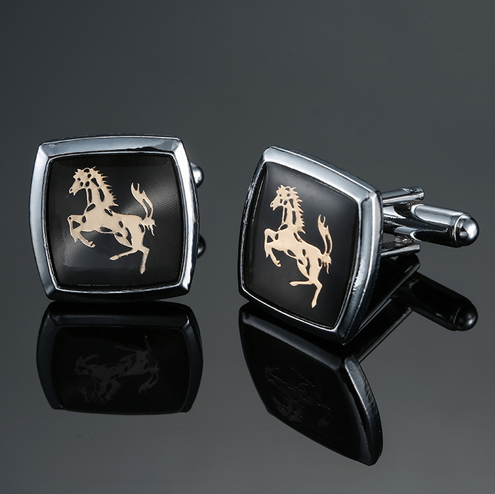 The Classic Horse Brand Cufflinks Glazed Process Style Men's Business Shirt Clothing Accessories, Free Delivery