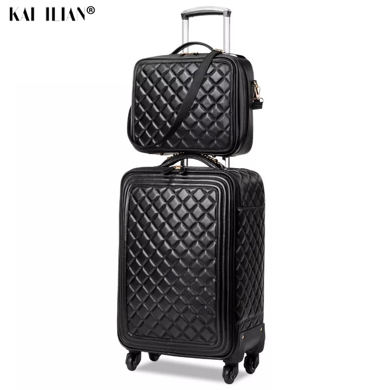 2PCS/SET 18/20/24 Inch Women Spinner Leather Retro Trolley Bag Cabin Travel Suitcase Hand Luggage Set Carry Ons Suitcase Wheels