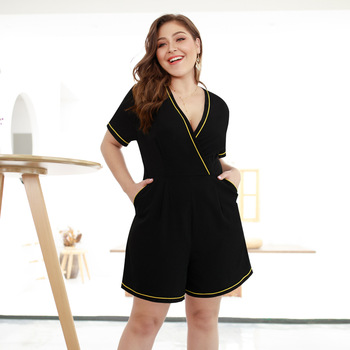 XL-4XL Women Summer 2019 New Plus size Playsuits Elegant V Neck Wrap Wide Leg Large Jumpsuit Office Lady Black Jumpsuits Rompers