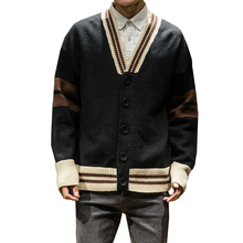 Autumn Winter Long Sleeve Button V-Neck Sweater Sweatercoat Male Striped Casual Cardigan Knitted Sweaters Mens Wear New Arrival pocket design v neck striped sleeve cardigan