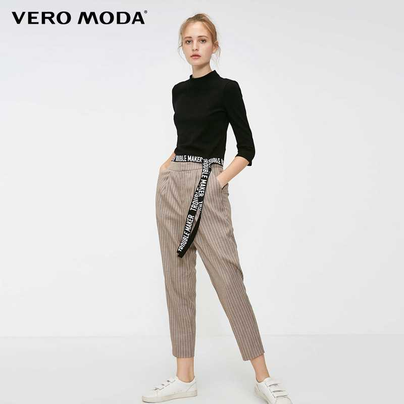 Vero Moda 2019 New Women's OL Style Striped Mid-rise Casual Cropped Pants & Capris | 318350517