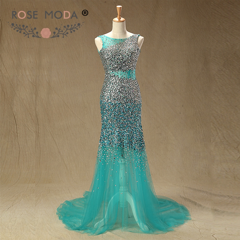 Rose Moda Sparkly Fully Crystal Beaded Teal   Prom     Dress   Reflective   Dresses   2019