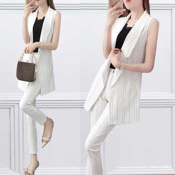 2 Piece 2019 Summer Women's Casual Striped Suit Vest + Pants  Set  Female Office Clothes - DISCOUNT ITEM  35% OFF All Category