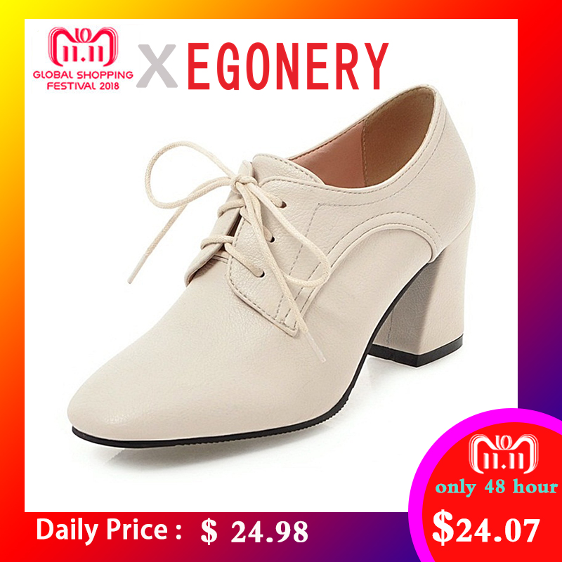 EGONERY women good quality high heels shoes casual shoes lace up office ladies  spring autumn big c52eb43ba42b