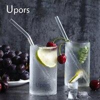 UPORS 200 шт./компл. трубочка для стаканов 20 см * 8 мм многоразовые стеклянные соломинки смузи четкие прямые питьевой стеклянные соломинки