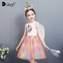 2019 Summer Toddler Girl Star Unicorn Sequined Embroidered Vest Dress Elegant Rainbow Color Sundress for Little