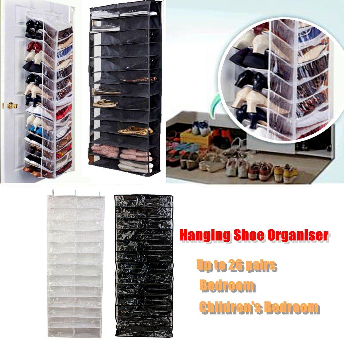 26 Pockets Shoe Rack Storage Organizer Holder Folding Hanging Door Closet + Hooks Bedroom Room Door Hanging Shoe Rack