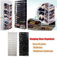 26 Pockets Shoe Rack Storage Organizer Holder Folding Hanging Door Closet + Hooks Bedroom Room Door Hanging Shoe Rack|Shoe Cabinets| |  -
