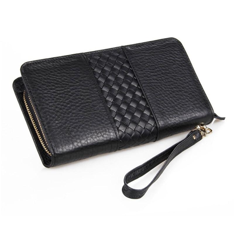 100% Genuine Leather Double Zipper Closure Nice Cowhide Men Clutch Bag Long Wallets Purse # PR088070A/C
