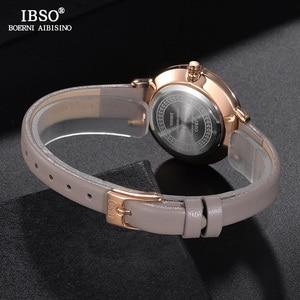 Image 4 - IBSO Brand Luxury Ladies Quartz Watch Leather Strap Montre Femme Fashion Women Wrist Watches Relogio Feminino Female Clock