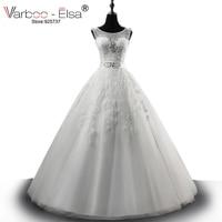 VARBOO_ELSA高級クリスタルビーズウェディングドレス白いチュール刺繍ブライ