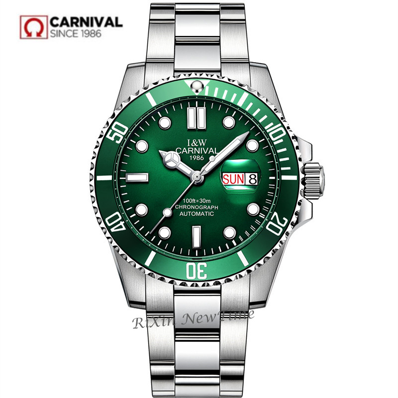 2019New mens watches top brand luxury Carnival automatic mechanical wrist watches full steel fashion military sport