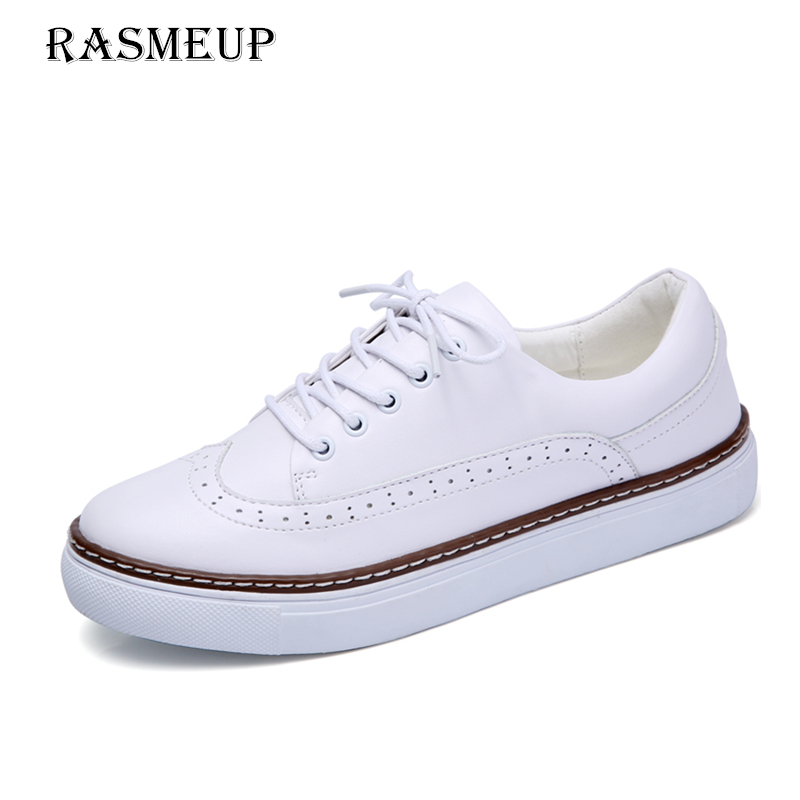 RASMEUP Genuine Leather Women's Flat Sneakers 2018 Fashion Spring Casual Women Lace Up Brogue Flats Woman White Breathable Shoes rasmeup genuine suede leather women s oxford shoes 2018 spring women lace up flat sneakers woman boat flats moccasins shoes