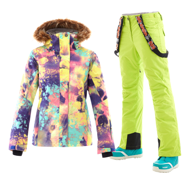 GS ski suit female skiing snowboard jackets women warm wintersport snow pants jas vrouwen veste ski femme chaqueta nieve mujer